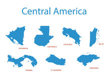Central america - maps of territories - vector Royalty Free Stock Image