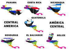 Central America. Montage of the Central American countries, each raised and highlighted with their nation's flag Stock Photo