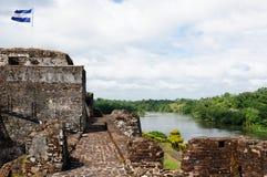 Central America, Nicaragua, El Castillo. Central America, Nicaragua, Spanish defensive fortification in of El Castillo on a river bank San Juan defending the royalty free stock image