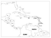Central America och för karibiska tillstånd politisk översikt Den svarta översikten gränsar med svarta etiketter för landsnamn En royaltyfri illustrationer