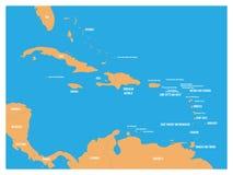 Central America och för karibiska tillstånd politisk översikt Gult land med svarta etiketter för landsnamn på blå havsbakgrund royaltyfri illustrationer
