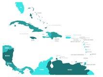 Central America och för karibiska tillstånd politisk översikt i fyra skuggor av turkosblått med svarta etiketter för landsnamn stock illustrationer