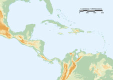 Central America physical. Physical map of Central America with scale. Elements of this image furnished by NASA Royalty Free Stock Photos