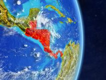 Central America on planet Earth. Central America on planet planet Earth with country borders. Extremely detailed planet surface and clouds. 3D illustration royalty free illustration