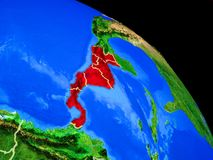 Central America on planet Earth. From space with country borders. Very fine detail of planet surface. 3D illustration. Elements of this image furnished by NASA stock illustration