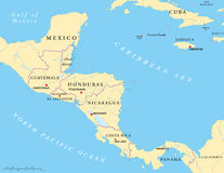 Central America Political Map. Political map of Central America with capitals, national borders, most important rivers and lakes. Vector illustration with Stock Photo