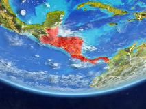 Central America from space on Earth. Central America on realistic model of planet Earth with country borders and very detailed planet surface and clouds. 3D vector illustration