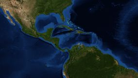Central America from space - zoom. Central America is the central geographic region of the Americas. It is the southernmost, isthmian portion of the North vector illustration