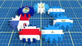 Central American Common Market members national flags on gears Stock Image