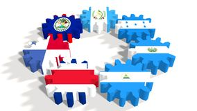 Central American Common Market members national flags on gears Royalty Free Stock Photography
