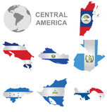 Central American Countries. Flags of Central America collection overlaid on outline map isolated on white background Stock Photos