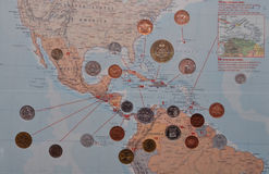 Central American map with coins. Central American map with embedded coins of region royalty free stock photography