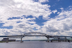 Central Arch of the Blatnik Bridge. Duluth, Minnesota - June 20, 2013 : The John A. Blatnik Bridge is the bridge that carries Interstate 535 (I-535) and U.S Royalty Free Stock Photography