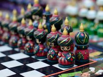 Handmade souvenirs from Central Asia,Bukhara, Uzbekistan, Silk Route. Central Asia, Ceramic colourful handmade figurines selling at street stall in Uzbekistan royalty free stock photo
