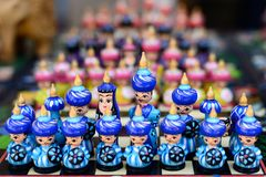 Handmade souvenirs from Central Asia,Bukhara, Uzbekistan, Silk Route. Central Asia, Ceramic colourful handmade figurines selling at street stall in Uzbekistan stock images