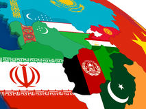 Central Asia on 3D map with flags Royalty Free Stock Photos