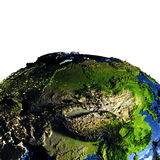 Central Asia on Earth with exaggerated mountains. Central Asia on model of Earth with exaggerated surface features including ocean floor. 3D illustration Stock Photos