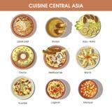 Central Asia food cuisine vector icons for restaurant menu Stock Photos