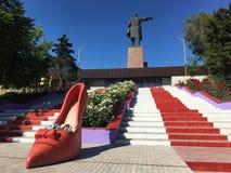 2019, Central-Asia, Kyrgyzstan, Osh, Lenin Statue royalty free stock image