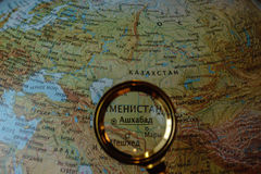 Central Asia on Russian map. Searching for city on Russian globe stock images