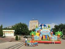 Central-Asia, Uzbekistan, Tashkent, made-in-China air castle amusement stock images