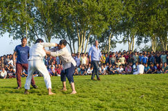 Central Asian Turkmen wrestling in Istanbul Royalty Free Stock Photography