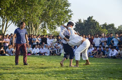Central Asian Turkmen wrestling in Istanbul Royalty Free Stock Image