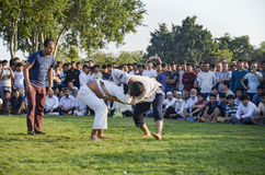 Central Asian Turkmen wrestling in Istanbul Stock Images
