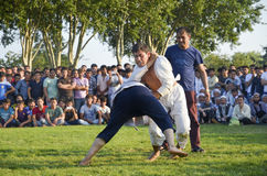 Central Asian Turkmen wrestling in Istanbul Royalty Free Stock Photo