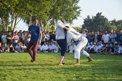 Central Asian Turkmen wrestling in Istanbul Royalty Free Stock Photos