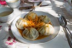 Central asiatisk mat Manti Arkivfoton