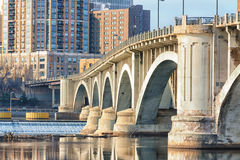 Central Avenue Bridge. And St. Anthony Falls in Minneapolis stock photo