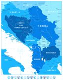 Central Balkan Region Map in Colors Of Blue and Map Pointers. Vector illustration royalty free illustration