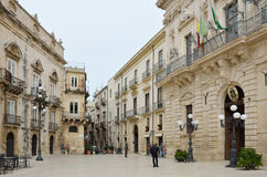 Central baroque square in the ancient Syracuse Stock Photography