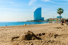 Central beach of barcelona. sand and modern architecture stock images