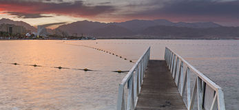 Central beach of Eilat at dawn, Israel Stock Photos