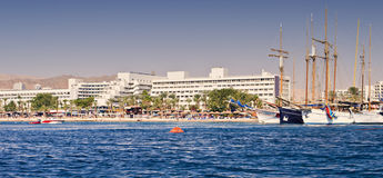 Central beach and marina with pleasure boats and yachts in Eilat Royalty Free Stock Images