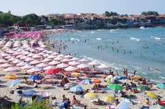 Central beach in Sozopol, Bulgaria. Located near the old part of the town Stock Photos