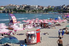 Central beach in Sozopol, Bulgaria. Located near the old part of the town Stock Image