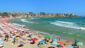 Central beach of Sozopol and view of Sozopol Old Town, Bulgaria Stock Image