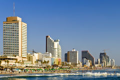 Central beach of Tel-Aviv at evening, Israel. The shot was done from the beach of yacht club in the center city of Tel-Aviv, Israel Stock Photography