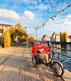 Central Berlin in Autumn, riverside. Stock Image