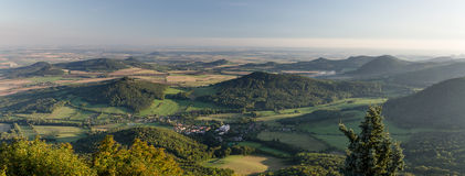 Central Bohemian Uplands, Czech Republic. Panoramic picture of Central Bohemian Uplands in Czech Republic taken at sundown time royalty free stock images