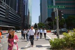 Central boulevard i Singapore Arkivbilder