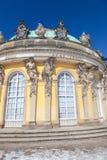 Sanssouci Palace. Potsdam, Germany. Central bow of the garden façade of the Sanssouci Palace with Atlas and Caryatids. Potsdam, Germany royalty free stock image