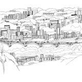 Central bridge in Krasnoyarsk black and white vector illustration