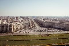 Bucharest panorama. Central Bucharest, Romania, seen from above Stock Images