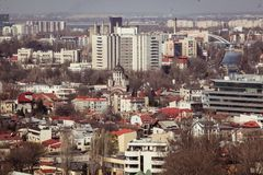 Bucharest panorama. Central Bucharest, Romania, seen from above Stock Photo