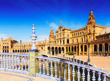 Central building from bride at  Plaza de Espana. Seville Stock Images