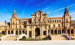 Central building and bridges at  Plaza de Espana. Seville Stock Photos